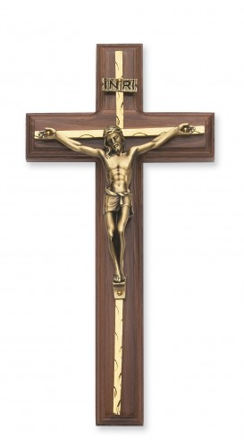"10"" Walnut Crucifix Gold Overlay"