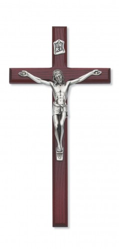 "10"" Cherry Crucifix Silver Corpus"