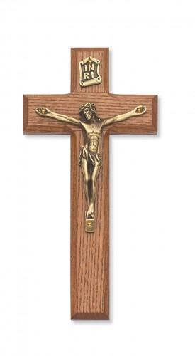 "7"" Stained Oak Crucifix Gold Corpus"