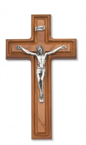 "10"" Walnut Crucifix Silver Corpus"