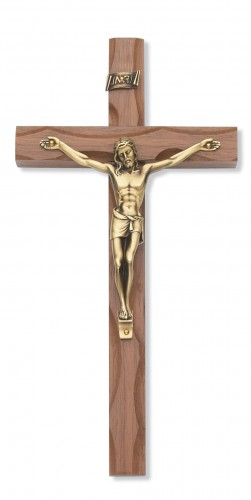 "10"" Carved Walnut Crucifix Gold"