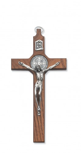 "8"" Walnut St. Benedict Crucifi"
