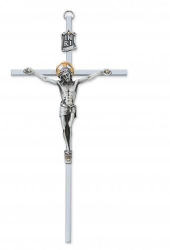 """10"""" All Silver Crucifix"""
