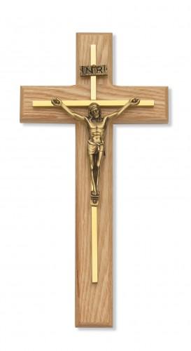 "10"" Oak Crucifix Gold Overlay"