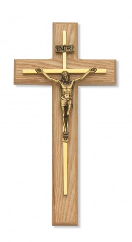 "10"" Oak Crucifix Gold Overlay"