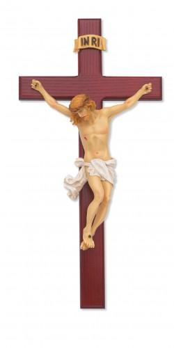 """15"""" Cherry Stain Crucifix"""