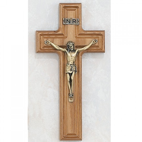 "8"" Stained Oak Crucifix Gold Corpus"