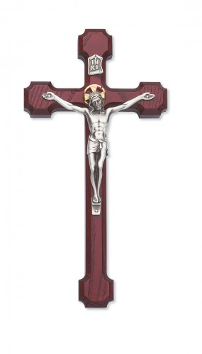 "8"" Cherry Stain Crucifix Silver"
