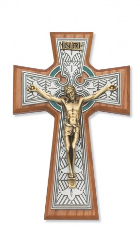 "8"" Walnut Celtic Crucifix Tutone"