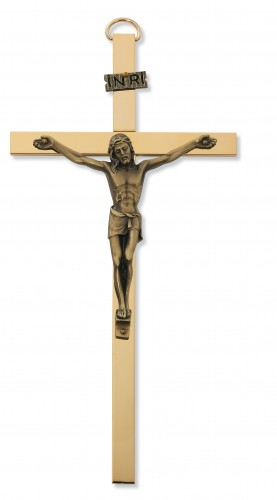 "8"" Gold Flat Wide Crucifix"