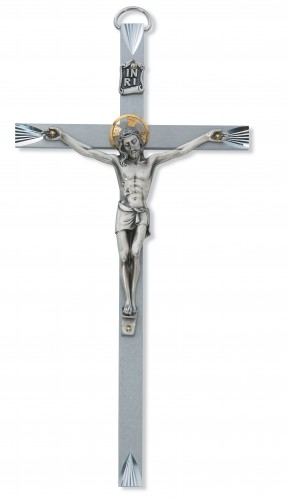 "8"" Bright Cut Metal Crucifix"