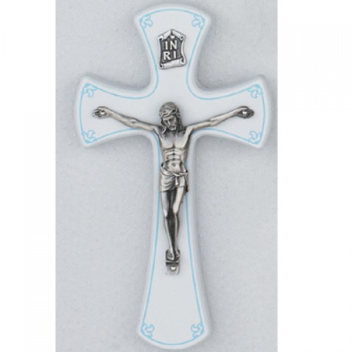 "7"" White/Silver Crucifix/Blue"