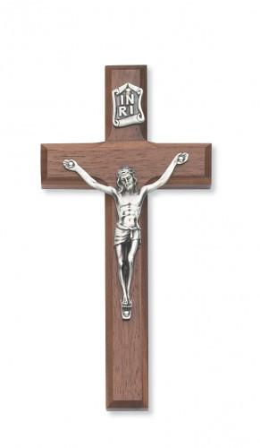 """6"""" Beveled Walnut/Silver Crucifix"""