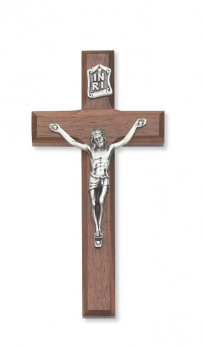 "8"" Beveled Walnut/Silver Crucifix"