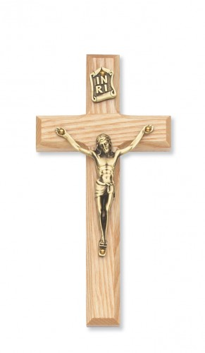 "8"" Beveled Oak/Gold Crucifix"