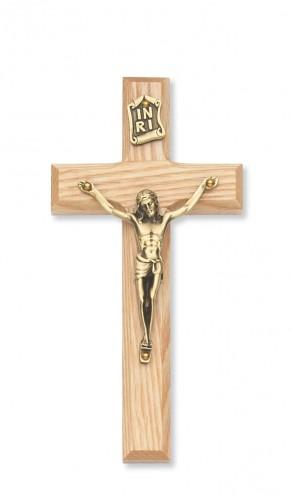"""10"""" Beveled Oak/Gold Crucifix"""