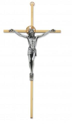 """8"""" Tutone Sterling Silver Crucifix"""