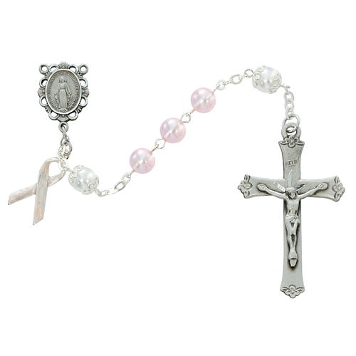 7MM Pink Pearl Cancer Rosary