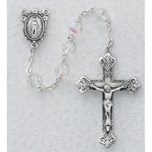 7MM Crystal Tin Cut Rosary