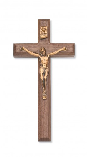 """8"""" Beveled Walnut Crucifix"""
