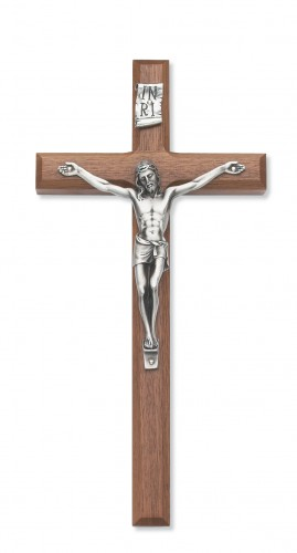 """10"""" Beveled Walnut Crucifix"""