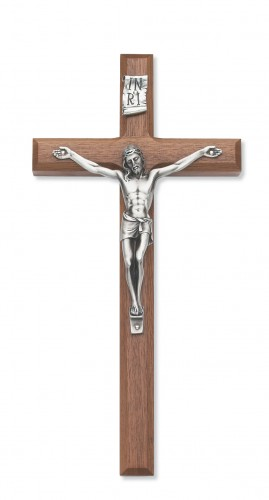 "12"" Beveled Walnut Crucifix"