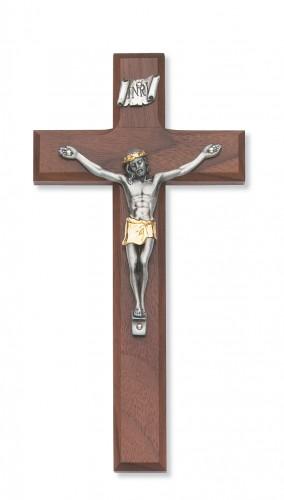 """8"""" Walnut Crucifix 2Tone Corp"""