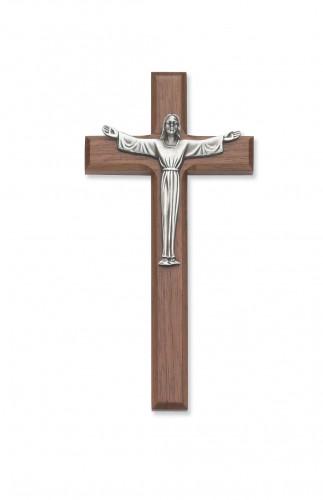 """7"""" Walnut Risen Crucifix"""