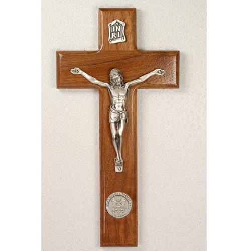 "8"" Walnut Army Crucifix"