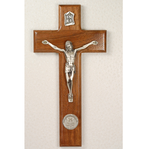 "8"" Walnut Army Crucifix"