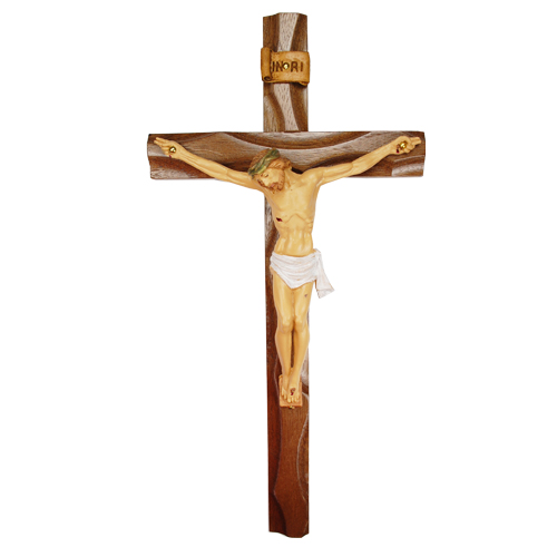 "10"" Carved Walnut Crucifix Resin"