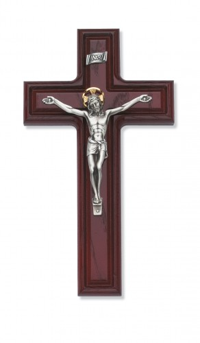 "10"" Cherry Crucifix with Silver Corpus"