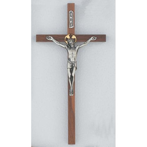 """12"""" Walnut Crucifix with Halo"""