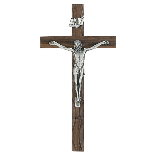 "10"" Carved Walnut Crucifix"