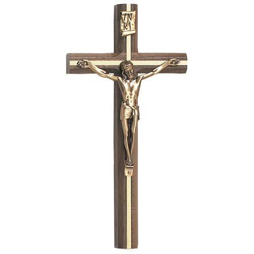 "10"" Walnut Inlay with Gold Crucifix"