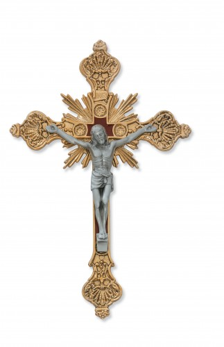 "8"" Sterling Silver Crucifix Red Epoxy"