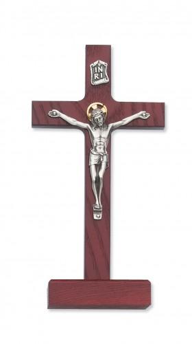 """8"""" Cherry Stain Standing Crucifix"""