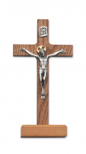 "8"" Walnut Stain Stand Crucifix"