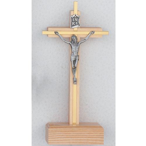 "7"" Oak Overlay Stand Crucifix"