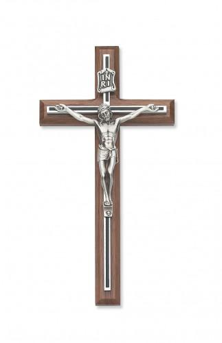 "8"" Walnut with Black Overlay Crucifix"