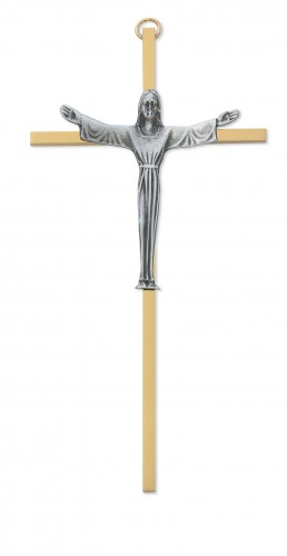 "7"" Risen Sterling Silver Crucifix"