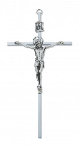 """8"""" All Silver Crucifix Silver Halo"""