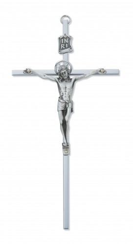 "8"" All Silver Crucifix Silver Halo"
