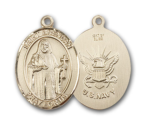 14K Gold St. Brendan the Navigator Navy Pendant