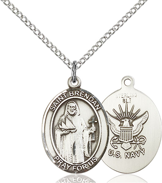 Sterling Silver St. Brendan the Navigator Navy P