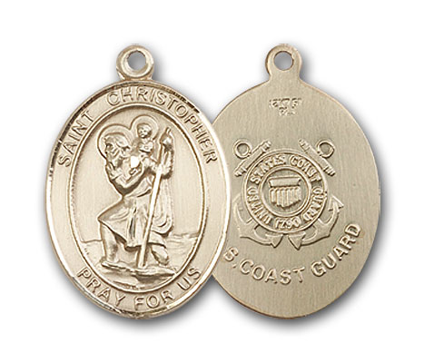 14K Gold St. Christopher Coast Guard Pendant