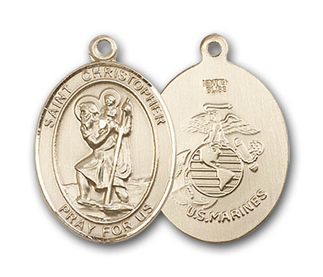 14K Gold St. Christopher Marines Pendant