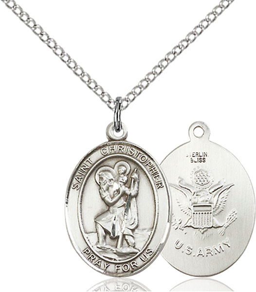 Sterling Silver St. Christopher Army Pendant