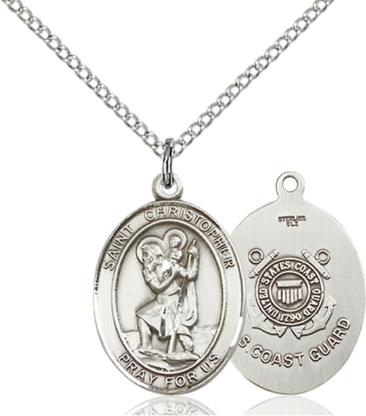 Sterling Silver St. Christopher Coast Guard Pend