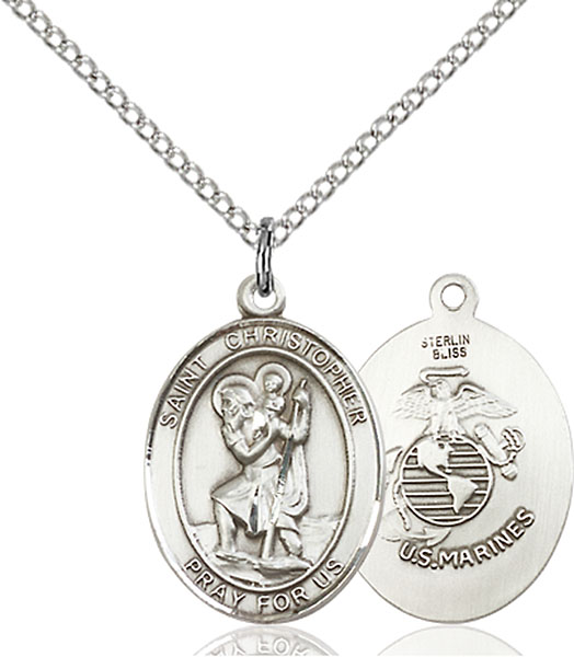 Sterling Silver St. Christopher Marines Pendant